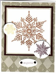 Copper snowflake by Illinois Marge - Cards and Paper Crafts at Splitcoaststampers Snowflake Cards, Snowflakes, Winter Cards, Copper, Paper Crafts, Stamp, Home Decor, Decoration Home, Snow Flakes