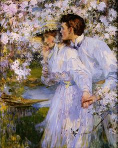 James Jebusa Shannon In The Springtime painting, oil on canvas & frame; James Jebusa Shannon In The Springtime is shipped worldwide, 60 days money back guarantee. Giovanni Boldini, Love Painting, Figure Painting, Louis Aragon, Art Ancien, Romantic Scenes, John Singer Sargent, Couple Art, Beautiful Paintings