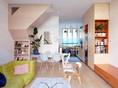 Lagado Architects creates colourful live-work spaces inside Dutch home Loft Spaces, Living Spaces, Living Rooms, Home Interior, Interior Design, Modern Interior, Interior Livingroom, Loft Stil, Terrazzo Flooring