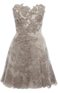 Gorgeous! Love all the details (and color)  Karen Millen Romantic Embroidery Dress Silver [DN163S] - $138.00 : Karen Millen