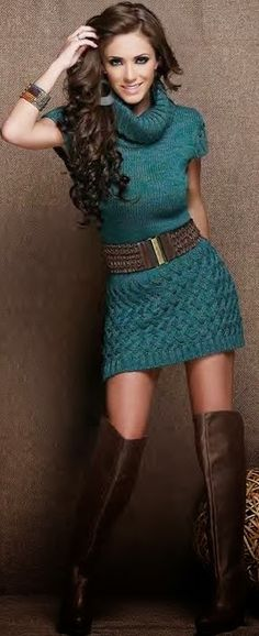Fabulous belted sweater and boots for fall