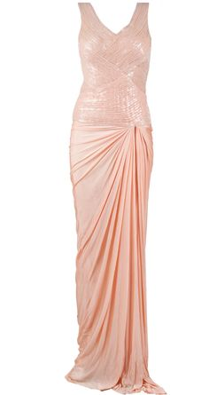 peach ruched dhoti bottom gown available only at Pernia's Pop-Up Shop.