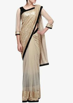 CREAM NET GOLDEN SEQUENCE PALLU SAREE WITH BLACK VELVET UNSTITCHED BLOUSE... MADE BY ORDER ONLY ORIGINAL PRICE : 5890 Rs CALL/WHATSAPP : 09425052960 https://www.facebook.com/StyleMee/photos/a.353815694702961.85020.352223348195529/617804058304122/?type=1&theater