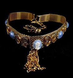 Mesh Choker Cameo Blue Moonglow Cabs Tasseled Beauty by hipcricket, $25.00