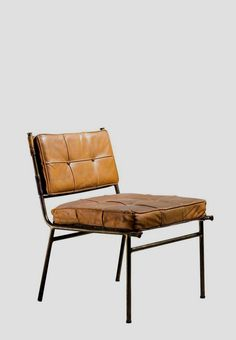 Rare Mathieu Matégot Chair with Brass Frame and Leather Seat and Back, 1950s 1