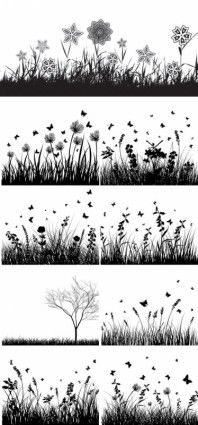 Plants and flowers silhouettes vector material Flower Silhouette, Silhouette Vector, Silhouette Cameo, Photographie Street Art, Doodle Drawing, Inspiration Artistique, Fairy Lanterns, Fairy Jars, Silhouettes