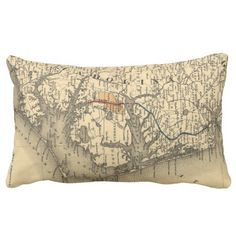 Vintage Map of The North Carolina Coast (1887) Throw Pillows