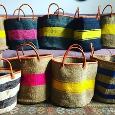 Handmade sisal Baskets with leather..perfect For shopping or beach