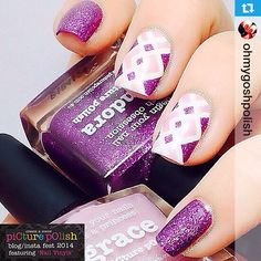I am SO doing this on my nails. Hope it looks good with my shape because it may just make me go back to square just for this mani! It's gorgeous Tam, thank you! #Repost from @ohmygoshpolish --- So happy to be included in @picturepolish Blog/Insta Fest 2014!!. So this is what I came up with with.. Featuring Right Angle #Nailvinyls from @teismom and @picturepolish Pandora and Grace.