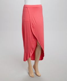 Another great find on #zulily! Heart & Hips Bright Coral Tulip Maxi Skirt by Heart & Hips #zulilyfinds