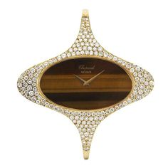 Chopard Yellow Gold and Diamond Bangle Bracelet Watch with Tiger's Eye Dial