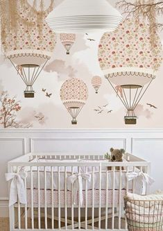 baby room with hot air balloons