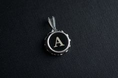 Initial TYPEWRITER Key PENDANT Letter A Black or Light Jewelry Vintage Unique Gift