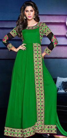 USD 69.38 Green Georgette Floor Length Anarkali Suit 42618