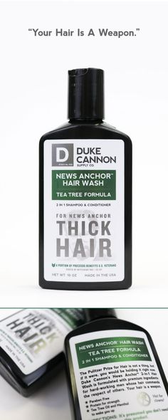 The Pulitzer Prize for Hair is not a thing, but if it were, you'd be looking at it right now. Duke Cannon's News Anchor 2-in-1 Hair Wash is formulated with premium ingredients to clean and condition the hair of hard working men. For the man whose hair commands the respect of others, there is no substitute. News Anchor Hair Wash. Your hair is a weapon.