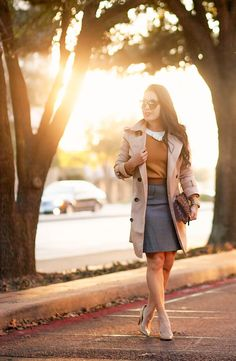 cute & little blog | petite fashion | camel bow sweater, gray pencil skirt, nude pumps, leopard clutch, khaki trench coat | fall winter work outfit