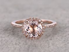 7mm Morganite Engagement ring Rose gold,Diamond wedding band,14k,Round Cut,Gemstone Promise Bridal Ring,Claw Prongs,Pave Set,Handmade by popRing on Etsy https://www.etsy.com/listing/262023424/7mm-morganite-engagement-ring-rose