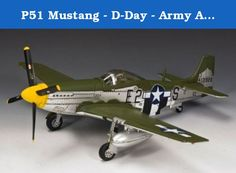 P51 Mustang - D-Day - Army Air Force - King & Country AF031. This King & Country P51D and shows a typical D-Day Mustang complete with black and white invasion stripes and in natural metal finish with some added olive drab camouflage on the top-side surfaces. This Mustang belongs to the 375th Fighter Squadron of the 361st Fighter Group based at Bottisham Airfield near Cambridge in Southern England in the summer of 1944. Just 250 of this P51 D-Day Mustang were produced.