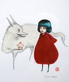 Little Red Riding Hood original illustration por mabgraves en Etsy