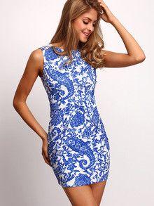summer dresses, sleeveless dresses, sexy blue dresses, tribal print dresses - Lyfie