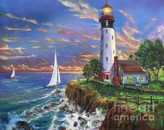 Lighthouse On A Cliff - Wall Art