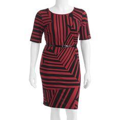 Women's Plus-Size Belted Contrast-Print Dress (Cute!!!)