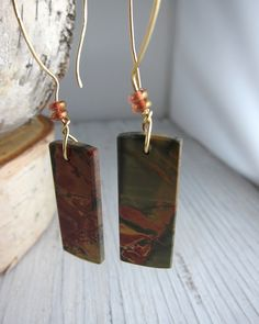 Earthy Stone Earring  Red Creek Jasper Slabs by SusanHeleneDesigns, $45.00