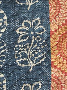 Antique French 18th Century Indigo Blue Resist Quilt - detail