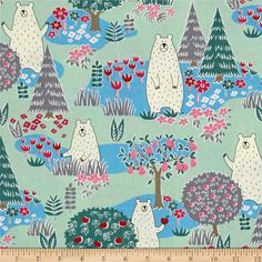 Cosmo Forest Delight Green from @fabricdotcom  Designed by Cosmo Japan for Springs Creative, this cotton print is perfect for quilting, apparel, and home decor accents. Colors include cream, shades of blue, shades of green, pink, red, grey, and black.