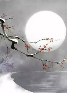 who is the author? Japanese Painting, Chinese Painting, Chinese Art, Ink Painting, Watercolor Paintings, Cherry Blossom Art, Wallpaper Animes, Art Asiatique, Zen Art