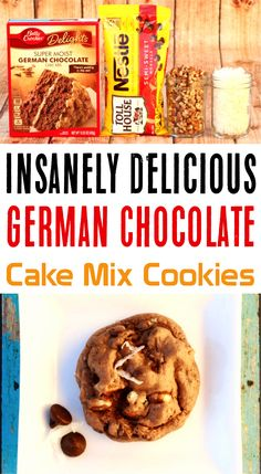 This easy dessert recipe with few ing… German Chocolate Cake Mix Cookies Recipes! This easy dessert recipe with few ingredients is the perfect weeknight treat or dessert for a crowd! Kokos Desserts, Cake Mix Desserts, Cake Mix Cookie Recipes, Coconut Desserts, Yummy Cookies, Easy Desserts, Dessert Recipes, Easy Few Ingredient Desserts, Desserts With Few Ingredients