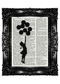 BANKSY flying balloon GIRL Upcycled Book Dictionary Print Art Prints Vintage Book Print Vintage Book Page Recycled Buy 3 get 4th free