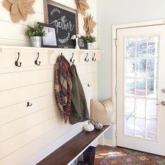 Happy Monday lovelies! I hope you all had a wonderful weekend! Here's to hitting that to-do list hard today and getting everything back in order after a busy weekend! #myfalldecorstyle #myfalldecor #showmetheshiplap #shiplap #mudroomwall #mudroom #farmhousestyle #farmhousedecor #myfarmhousestyle #mydecormonday #coatrack #countryliving #farmhouse #vintagedecor #vintagefarmhouse #minimalisticmonday #myseasonalfarmhouse