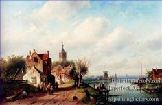 5 A Village Along A River A Town In The Distance landscape Charles Leickert