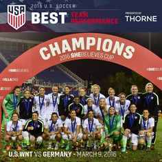 The #USWNT vs.  wins Best Team Performance of 2016, presented by Thorne!