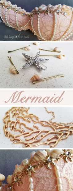 Costume & Accessories (for less!), Mermaid Costume & Accessories (for less!), Mermaid Costume & Accessories (for less! Diy For Kids, Crafts For Kids, Arts And Crafts, Kids Fun, Diy Crafts, Diy Hair Accessories, Costume Accessories, Diy Halloween Accessories, Mermaid Hair Accessories