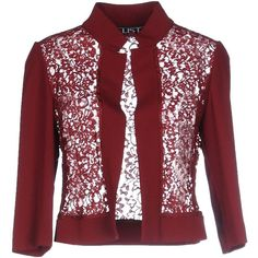 List Blazer (€105) ❤ liked on Polyvore featuring outerwear, jackets, blazers, maroon, lace blazer, lace blazer jacket, red blazer, maroon jacket and red blazer jacket