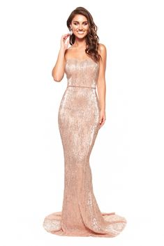 A&N Chloe - Rose Gold Strapless Sequin Gown with Mermaid Silhouette – A&N Luxe Label Beige Bridesmaids, Long Bridesmaid Dresses, Wedding Dresses, Long Mermaid Dress, Mermaid Dresses, Gold Gown, Sequin Gown, Sweet 16 Dresses, Unique Dresses