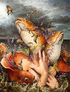 """Monarch"" - Hannah Yata, oil on canvas {contemporary artist surreal fish hands water butterfly painting #loveart}"