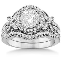 Allurez Butterfly Diamond Engagement Ring & Wedding Band Platinum... ($3,525) ❤ liked on Polyvore featuring jewelry, rings, accessories, wedding, wedding rings, white gold, butterfly engagement ring, platinum ring, engagement rings and butterfly ring