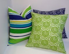 Pillow trio, island blue & green decorative pillow covers, home decor, home accent on Etsy, $52.00