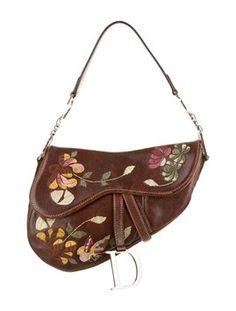 Christian Dior Romantic Flowers Saddle Leather Embroidered Floral Shoulder Bag $399