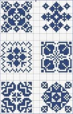 Cross-stitch Blue tiles, part 5 Biscornu Cross Stitch, Cross Stitch Charts, Cross Stitch Designs, Cross Stitch Embroidery, Embroidery Patterns, Cross Stitch Patterns, Tapestry Crochet Patterns, Crochet Chart, Filet Crochet
