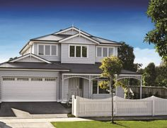 Today I am sharing this double storey Hamptons inspired floor plan I found. I dont usually go for the double storey homes, but this one is gorgeous. The facade got me! Its 5 bedroom, with a study, games and rumpus. Die Hamptons, Hamptons Style Homes, Building A Garage, Building A House, Style At Home, Home Builders Melbourne, Double Story House, Weatherboard House, Queenslander