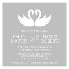 Mixbook Sweet Swans Wedding Invitations