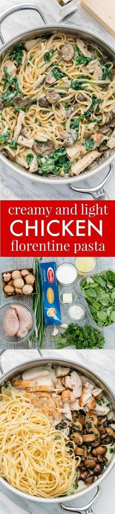 Chicken Florentine Pasta in a light creamy sauce. Easy 30-minute weeknight meal. Also, this chicken florentine pasta reheats beautifully - creamy as ever!