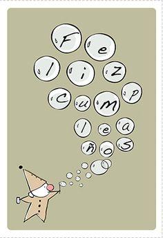 """""""Burbujas De Feliz Cumpleaños"""" printable card. Customize, add text and photos. print for free!"""