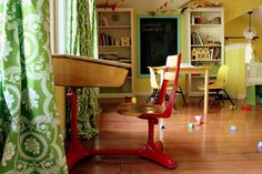 Playroom...love the desk!  Must paint mine a happy color!