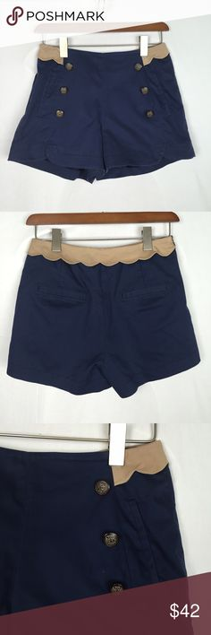 """Jesse Line Anthropologie high waisted shorts M This is a super cute pair of Anthropologie Jessy line girls best love shorts. They are high waisted side zipper. Size medium. Waist 25"""" rise 10.5"""" inseam 2.5"""". They are navy and beige. Completely lined. Has front pockets. Anthropologie Shorts"""