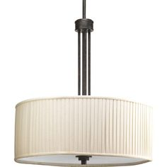 Progress Lighting 3-light drum shade pendant in a espresso finish with a cream linen fabric with soft side pleats. Reg. Price 525.50 Our Price $294.84